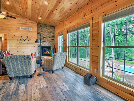 view from the living area of Hocking Hills Cabin
