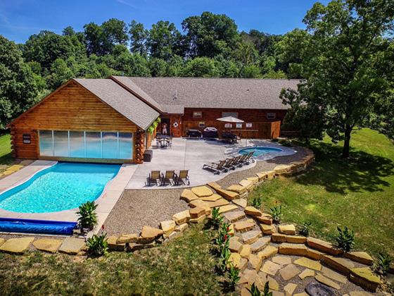 View of indoor outdoor heated pool in Hocking Hills